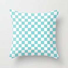 Gingham Duck Egg Blue Checked Pattern Throw Pillow