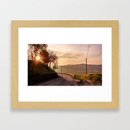 Spring sunset in the vineyards of Collio Friulano Framed Art Print