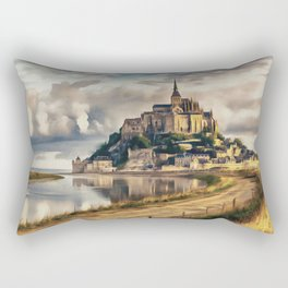 Mont Saint Michel castle painting, French island scenery, Normandy France nature, travel art poster Rectangular Pillow