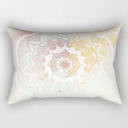 Moroccan white mandala on pink Rectangular Pillow