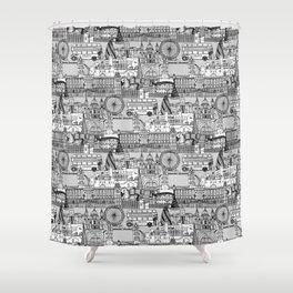 London toile black white Shower Curtain