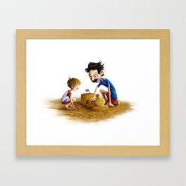 Father and Son at the Beach Framed Art Print