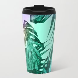 Simply Palm Leaves in Hologram Island Green Travel Mug