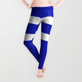 Parallel White Stripes on Blue Leggings