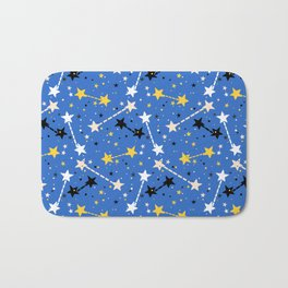 Fun ditsy print with night sky and constellations Bath Mat