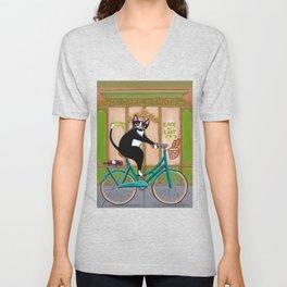 Les Cafe des Chats Bicycle Cat Unisex V-Neck