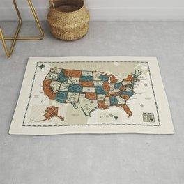 USA Vintage Map Rug