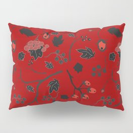 Red berry, Christmas Brier Spray Pattern Pillow Sham