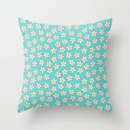 Small Cream Flowers on Turquoise Throw Pillow