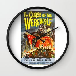 The Curse of the Werewolf, vintage horror movie poster Wall Clock