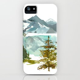 Forest green teal blue watercolor hand painted landscape iPhone Case