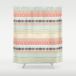 Aztec In Fall   Retro Pink Brown Teal Geo Pattern Shower Curtain