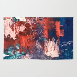 Bali: a vibrant, colorful abstract in blue, green, and pink/red Rug