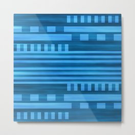 Art Deco Geometric Pattern Blue Metal Print