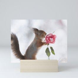 squirrel holding a winter rose Mini Art Print