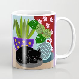 Flower pots and a black cat Coffee Mug