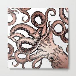 Glamourpuss, Watercolor Octopus, Nautica Art, Rose gold Metal Print