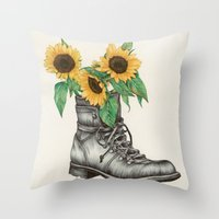 shoe Throw Pillows featuring Shoe Bouquet I by The White Deer