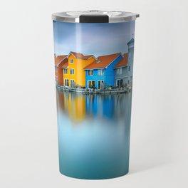 Blue Morning at Waters Edge Groningen Netherlands Europe Coastal Landscape Photograph Travel Mug