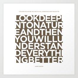 Nature quote poster - Albert Einstein - Tobacco brown Art Print