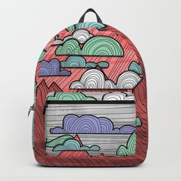 Colorful Mountains and Clouds Backpack