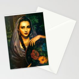 Jesus Helguera Painting of a Calendar Girl with Dark Shawl Stationery Cards