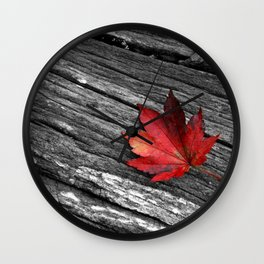 Maple Leaf Black and White Wall Clock