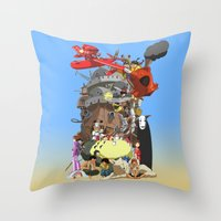 calcifer Throw Pillows featuring Studio of Dreams by CromMorc