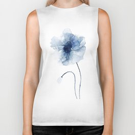 Blue Watercolor Poppies #2 Biker Tank