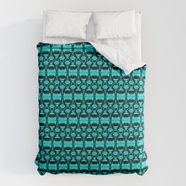 Abstract Pattern Dividers 02 in Turquoise Black Duvet Cover
