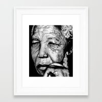 mandela Framed Art Prints featuring Mandela by DeMoose_Art