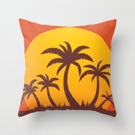 Palm Trees And Summer Sunset Throw Pillow