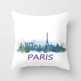 Paris City Skyline HQ Throw Pillow