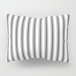 Black and White English Rose Trellis in Mattress Ticking Stripe Pillow Sham