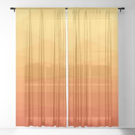 Orange and yellow ombre polygonal geometric pattern Sheer Curtain