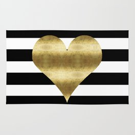 gold heart black and white stripe Rug