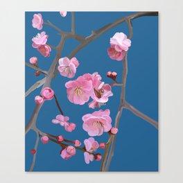 painted plum blossom blue Canvas Print