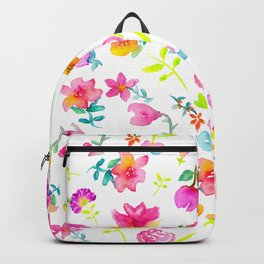Boho bouquet hand painted watercolor floral Backpack