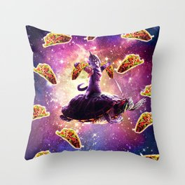 Warrior Space Cat On Turtle Unicorn - Taco Throw Pillow
