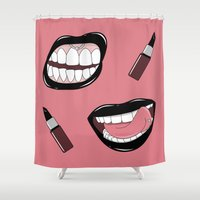 lipstick Shower Curtains featuring Black Lipstick by shoooes