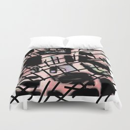 Black Railways Duvet Cover