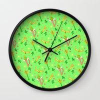sailor jupiter Wall Clocks featuring Sailor Jupiter Pattern / Sailor Moon by Lauren C Skinner