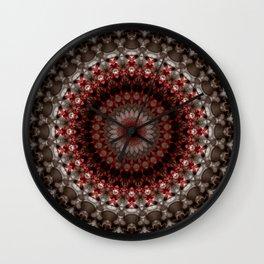 Detailed mandala in grey and red Wall Clock