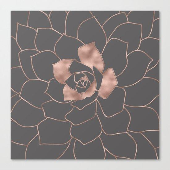 Rosegold  blossom on grey - Pink metal-effect flower Canvas Print