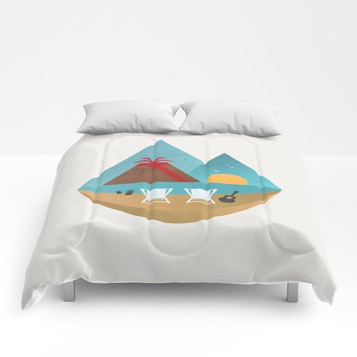 Volcano Sunset Comforters