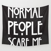 ahs Wall Tapestries featuring Normal People Scare Me AHS by Double Dot Designs