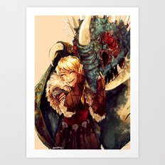 Astrid and Stormfly Art Print