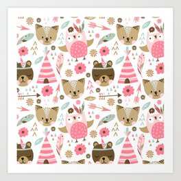 Pink Boho Animals Art Print