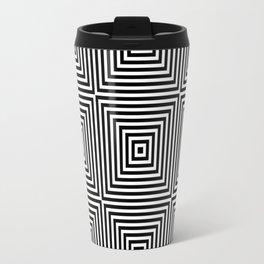 Square Optical Illusion Black And White Travel Mug