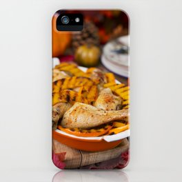 I - Oven roasted chicken with grilled pumpkin on a rustic table iPhone Case
